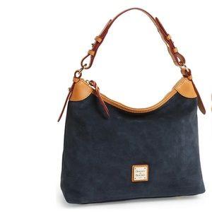 Dooney & Bourke Suede Hobo Shoulder Bag Purse Blue